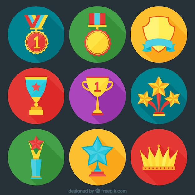 Awards icons set Free Vector