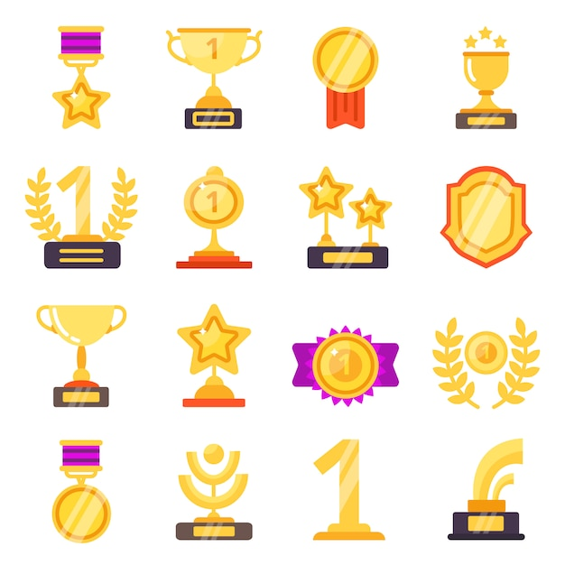 Awards icons. trophy medal prize with ribbons for winners flat symbols isolated Premium Vector