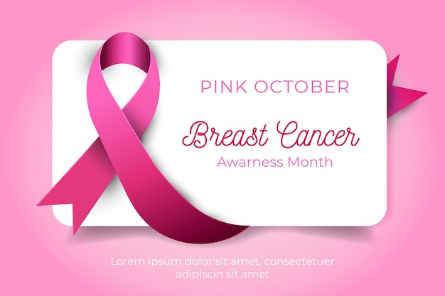 Awareness month with realistic pink ribbon Premium Vector