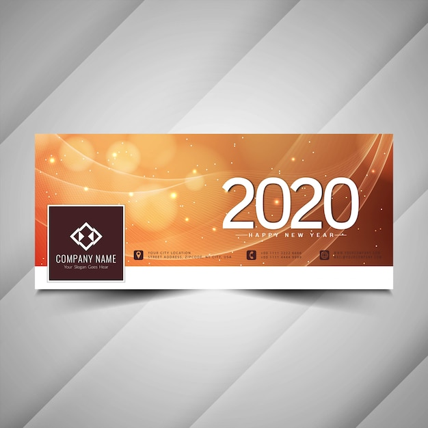 Awesome 2020 new year facebook cover Free Vector