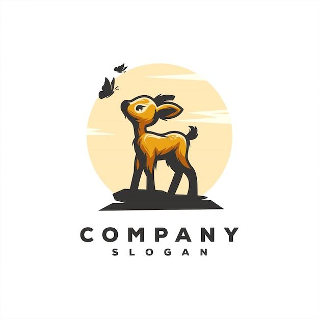 Awesome baby deer logo vector design illustration Premium Vector