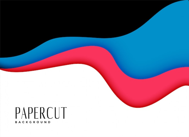 Awesome background of wavy papercut layers Free Vector