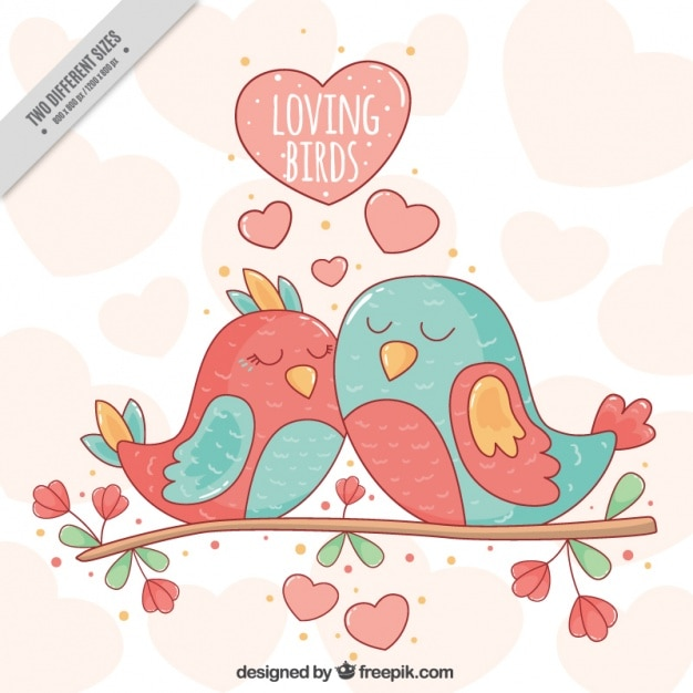 Awesome background with cute birds together on a branch Free Vector