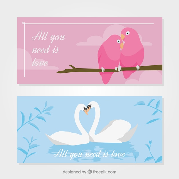 Awesome banners with loving animals' couples for valentine's day Free Vector
