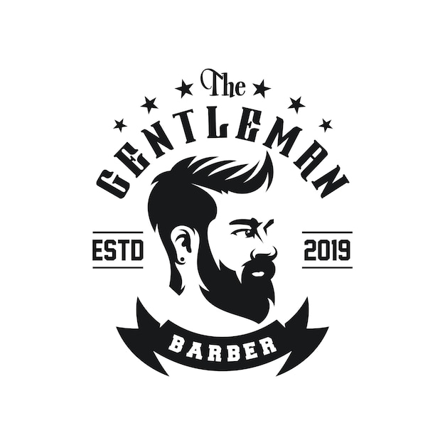 Awesome barbershop logo design vector Premium Vector