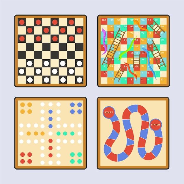 Классные настольные игры, в которые можно играть с друзьями Бесплатные векторы