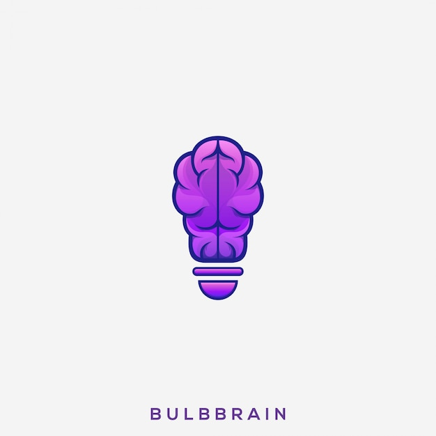 Логотип awesome bulb brain Premium векторы