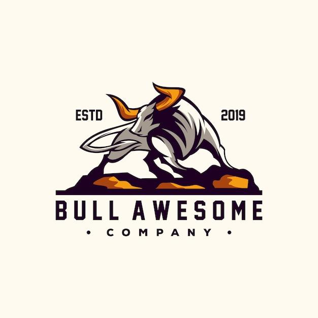 Awesome bull logo design vector Premium Vector