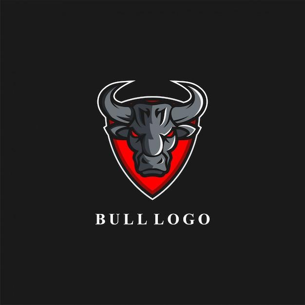 Awesome bull shield logo Premium Vector