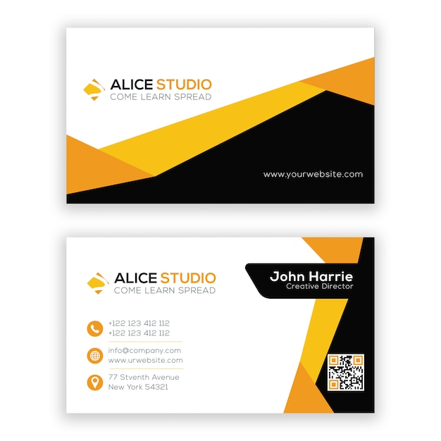 Awesome business card design template Premium Vector