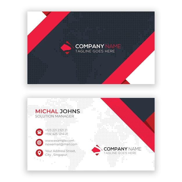 Awesome business card template Premium Vector
