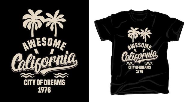 야자수 티셔츠 디자인으로 멋진 캘리포니아 타이포그래피 프리미엄 벡터