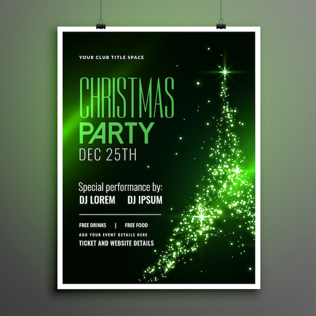 Awesome christmas party green flyer with sparkle tree design Free Vector
