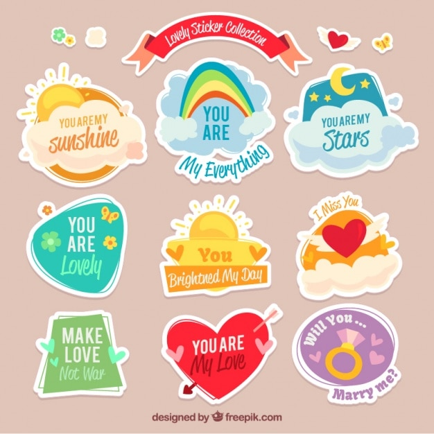 awesome collection of lovely stickers vector free download rh freepik com  awesome lovely couple pics