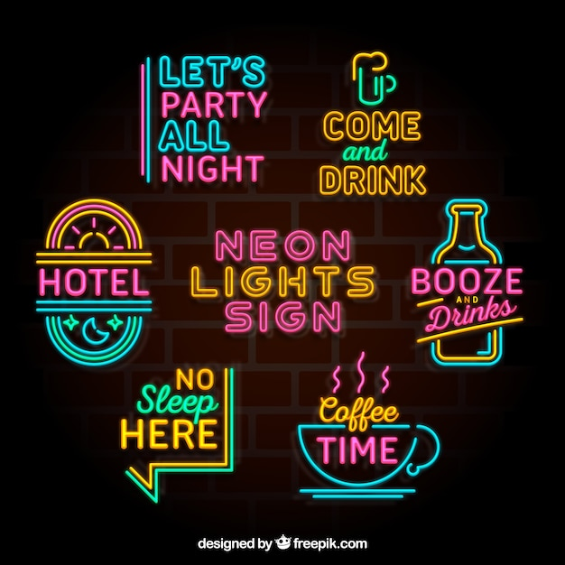 Awesome collection of colorful neon light placards Free Vector