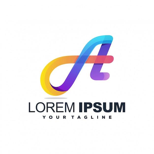 Awesome a color logo Premium Vector