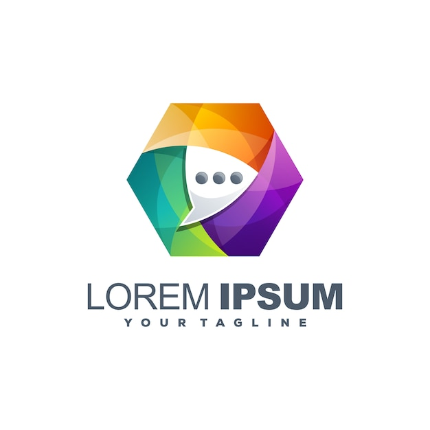 Awesome colorful chat logo template Premium Vector