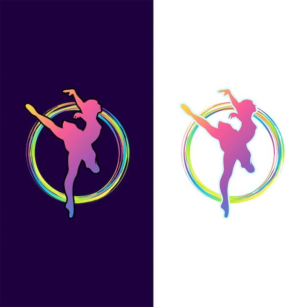 Awesome colorful dancing logo design Premium Vector