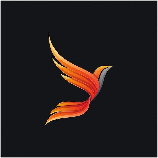 Awesome colorful phoenix logo design Premium Vector