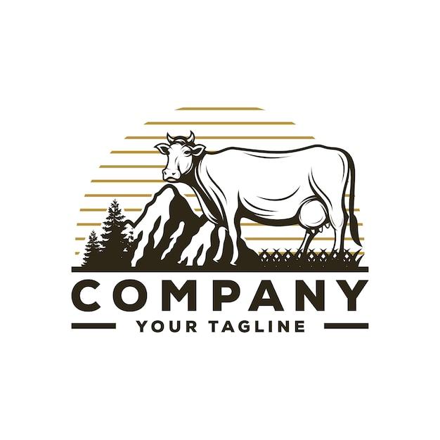Awesome cow farm logo vector Premium Vector
