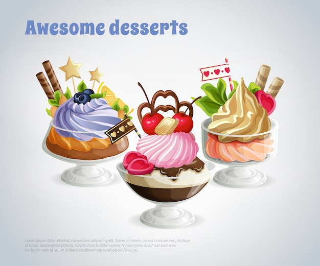 Awesome desserts composition Free Vector