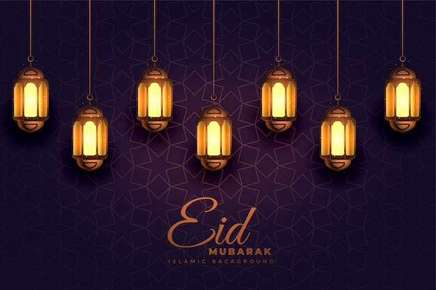 Awesome eid mubarak festival light lamps background Free Vector