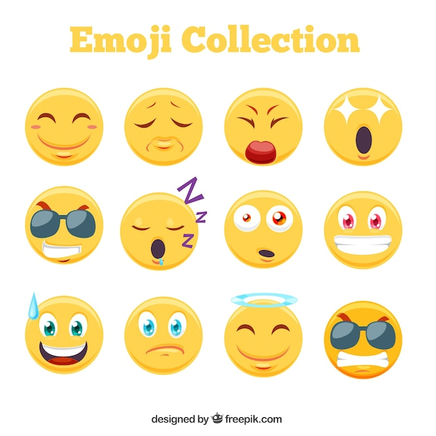Awesome emoji collection Free Vector
