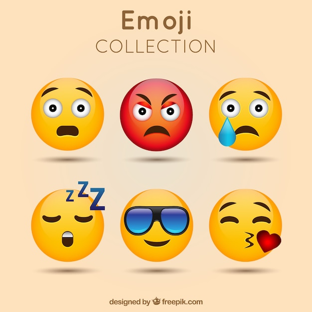 Awesome emoticon pack Free Vector