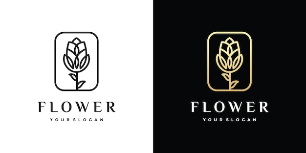Awesome flower outline logo Premium Vector