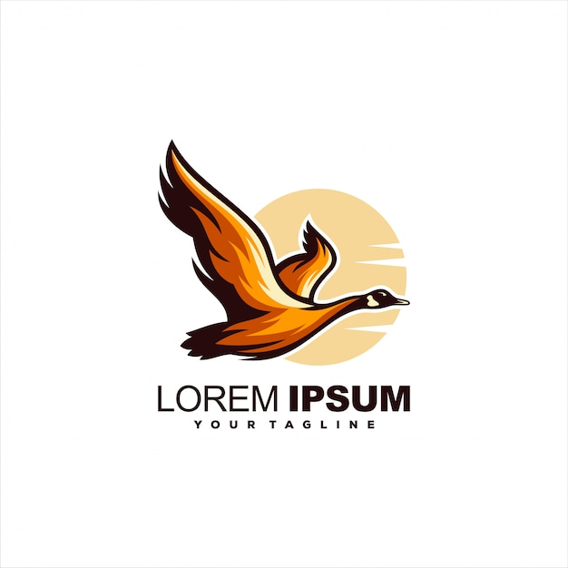 Awesome flying swan logo design Premium Vector