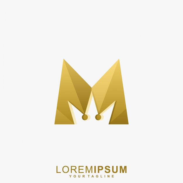 Awesome gold letter m crown logo Premium Vector