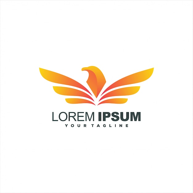 Awesome gradient eagle logo design Premium Vector