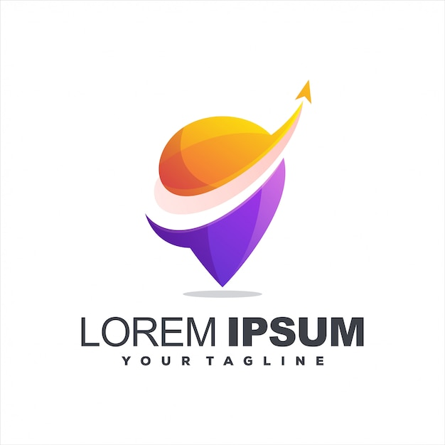 Awesome gradient pin logo Premium Vector
