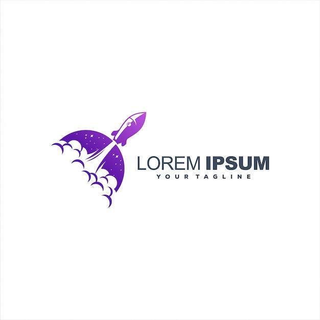 Awesome gradient rocket logo Premium Vector
