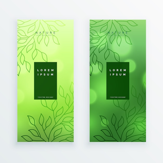 Awesome green leaves vertical banners Free Vector