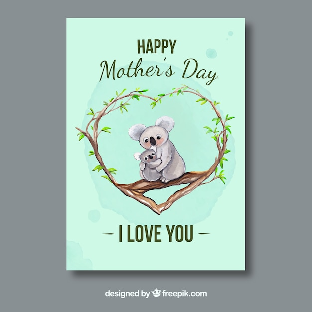 Awesome greeting card with koalas for mothers day vector free awesome greeting card with koalas for mothers day free vector m4hsunfo