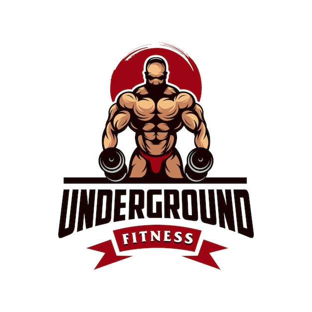 Awesome gym muscle logo vector Premium Vector