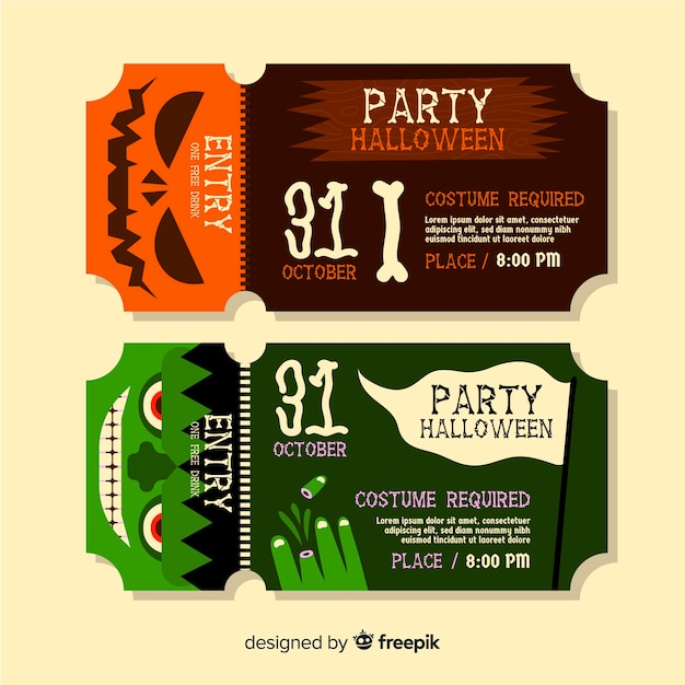Awesome halloween tickets for party events Free Vector