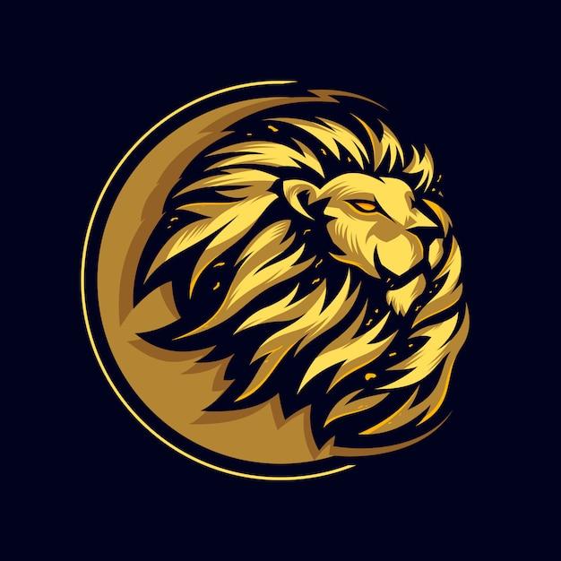 Потрясающая голова льва с логотипом премиум Premium векторы