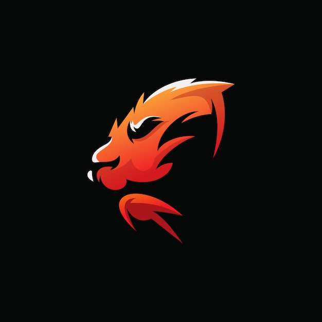 Awesome head tiger illustration design Premium Vector