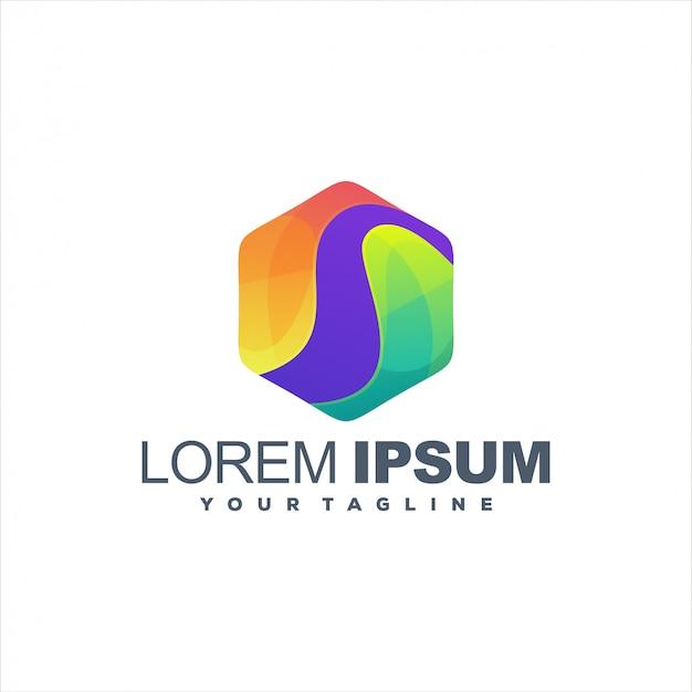 Удивительный дизайн логотипа градиент шестиугольника Premium векторы
