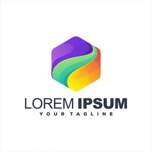 Высокий шаблон логотипа градиент шестиугольника Premium векторы