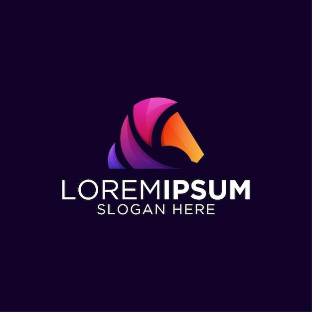 Awesome horse logo design colorful gradient Premium Vector