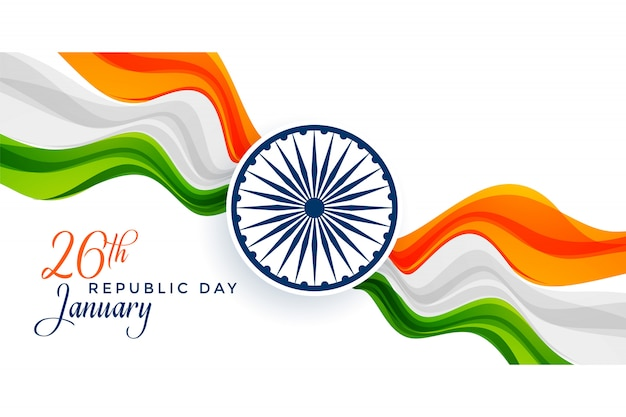 Awesome indian flag design for happy republic day Free Vector