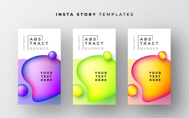 Awesome instagram story templates with abstract liquid shapes Free Vector
