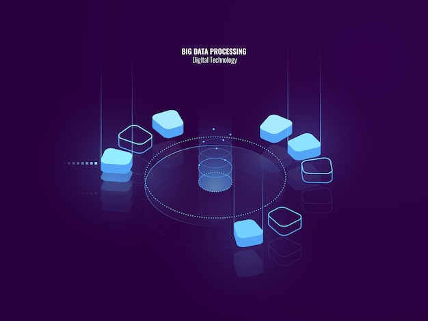 Awesome isometric banner of digital technology, isometric abstract icon of big data processing Free Vector