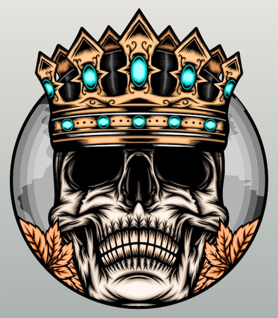 Awesome king skull illustration. Premium Vector