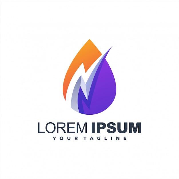 Потрясающий дизайн логотипа с градиентом молнии Premium векторы