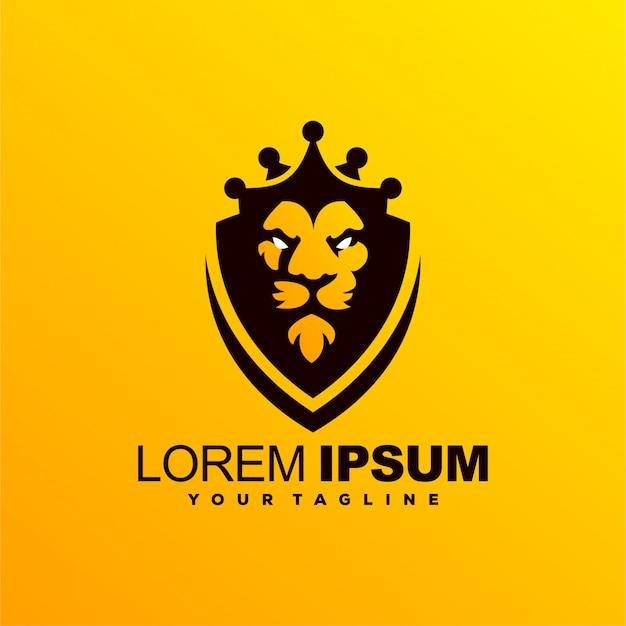 Удивительный дизайн логотипа lion king Premium векторы