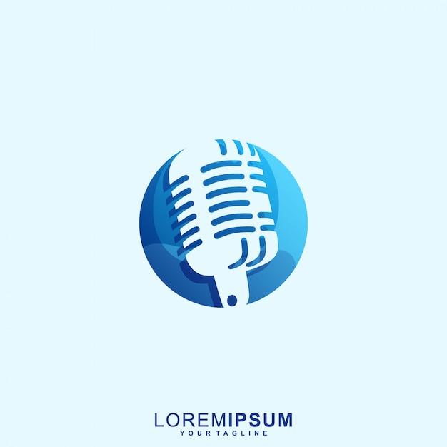 Удивительный микрофон радио премиум логотип Premium векторы